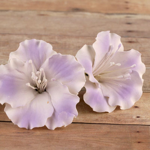 Lavender Azalea blossom sugarflower made from gumpaste.  Cake decoration.  Wholesale cake supply.  Caljava Bakery Supply.