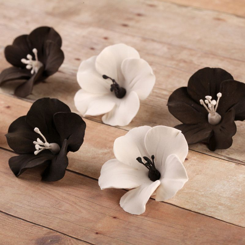 Black and White fruit blossom sugarflower made from gumpaste.  Cake decoration.  Wholesale cake supply.  Caljava Bakery Supply.