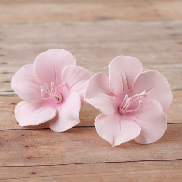 Pink fruit blossom sugarflower made from gumpaste.  Cake decoration.  Wholesale cake supply.  Caljava Bakery Supply.