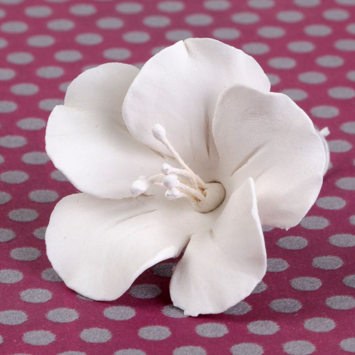 White fruit blossom sugarflower made from gumpaste.  Cake decoration.  Wholesale cake supply.  Caljava Bakery Supply.