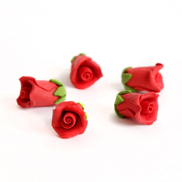 Tiny Red Rose Sugarflowers made of gumpaaste perfect for cake decorating fondant cakes and cupcakes.  Edible cake decorations.  Wholesale sugarflowers.