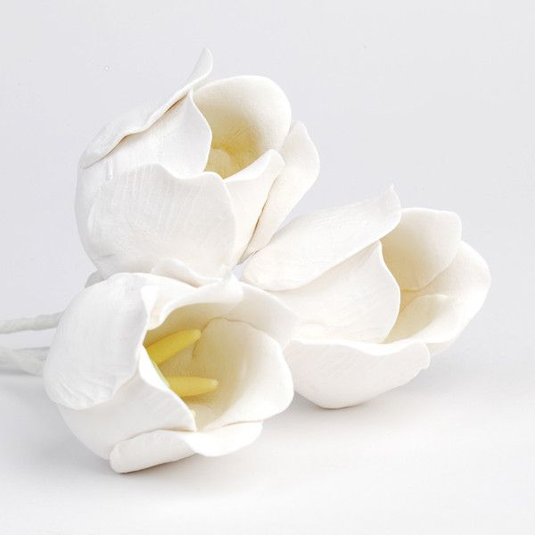 White Tulip Gumpaste Sugarflower cake toppers perfect for cake decorating wedding cakes & fondant cakes. Easter cake decor.  Wholesale sugarflower.