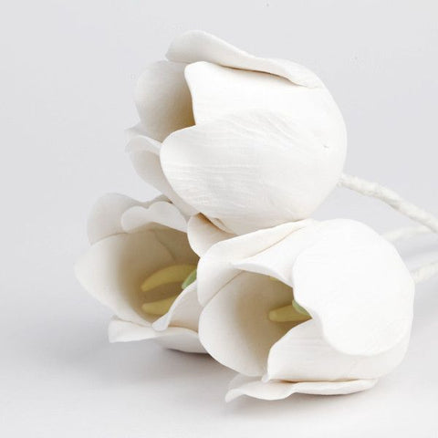 White Tulip Gumpaste Sugarflower Cake Topper perfect for cake decorating fondant cakes & wedding cakes & easter cakes. Tulips great for easter & spring cake
