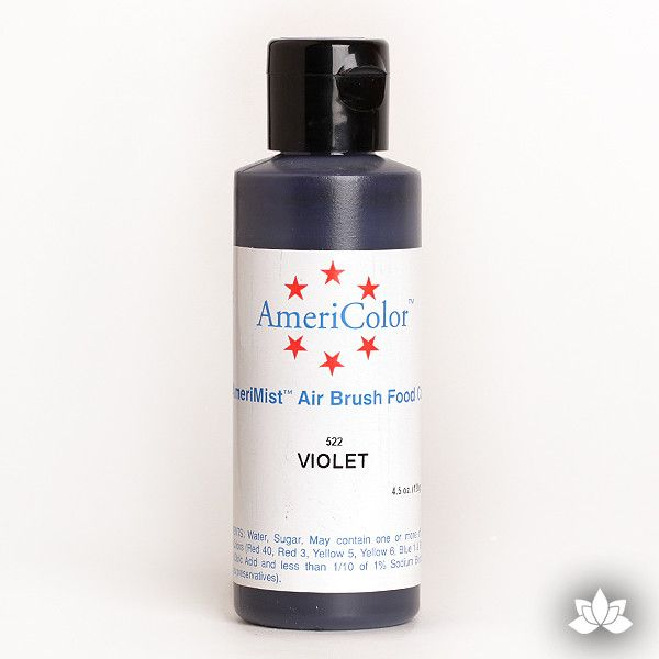 Violet AmeriMist Air Brush Color 4.5 oz is a highly concentrated air brush color perfect for coloring non-dairy whipped icing, toppings, rolled fondant, gum paste flowers, and buttercream. Wholesale edible air brush color.