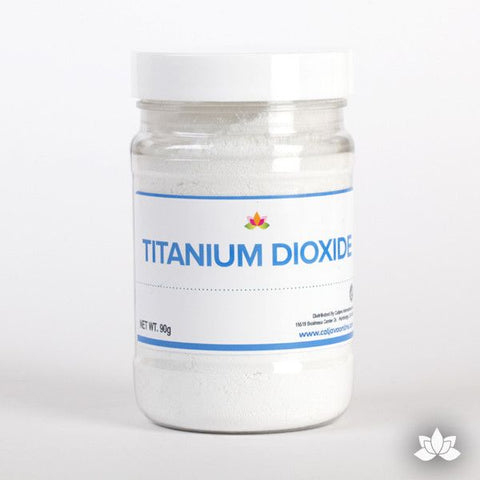 Titanium dioxide is a food safe whiter or whitening agent to help make your sugar creations white & bright.  Whitening powder.