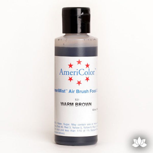 Warm Brown AmeriMist Air Brush Color 4.5 oz is a highly concentrated air brush color perfect for coloring non-dairy whipped icing, toppings, rolled fondant, gum paste flowers, and buttercream. Wholesale edible air brush color.