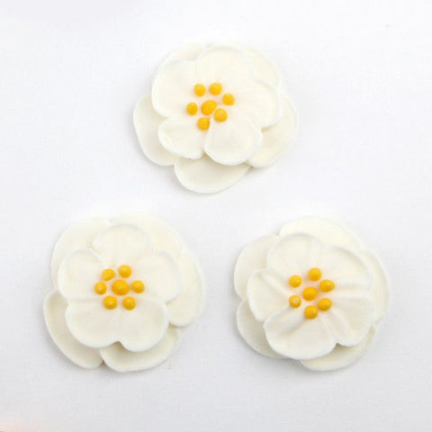 Dainty Bess Tea Rose Royal Icing Decorations - White