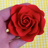 Brilliant Red Gumpaste Roses handmade cake decoration. Wholesale cake supply. caljava