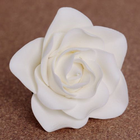 White Brilliant Gumpaste Rose handmade cake decoration perfect for cake decorating fondant cakes. Cake supply. caljava
