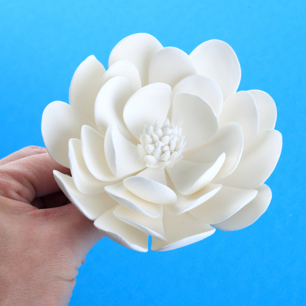 White Dahlia Sugar Flower Cake Topper for cake decorating your own cakes and wedding cakes.  Handmade cake decor for bakeries. Caljava