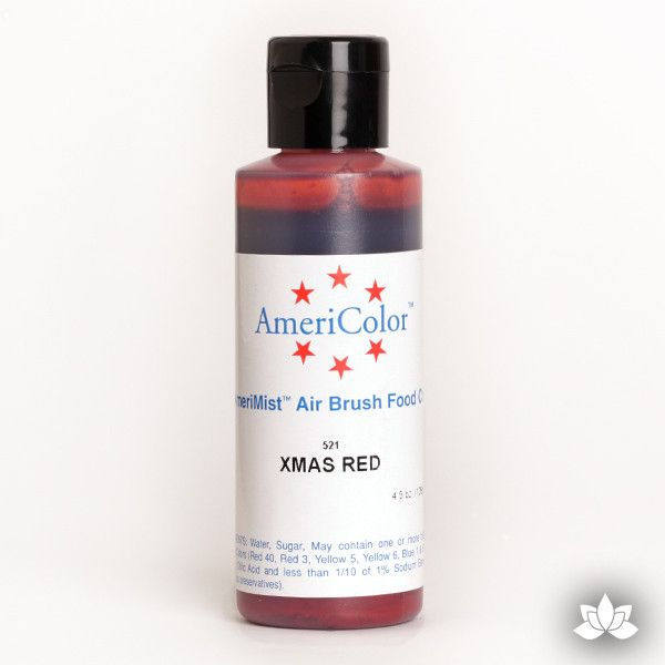 Xmas Red AmeriMist Air Brush Color 4.5 oz is a highly concentrated air brush color perfect for coloring non-dairy whipped icing, toppings, rolled fondant, gum paste flowers, and buttercream. Wholesale edible air brush color.