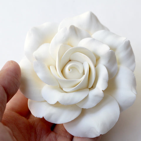 White Rose Sugarflower cake topper great for decorating your own cakes. Handmade from gum paste.