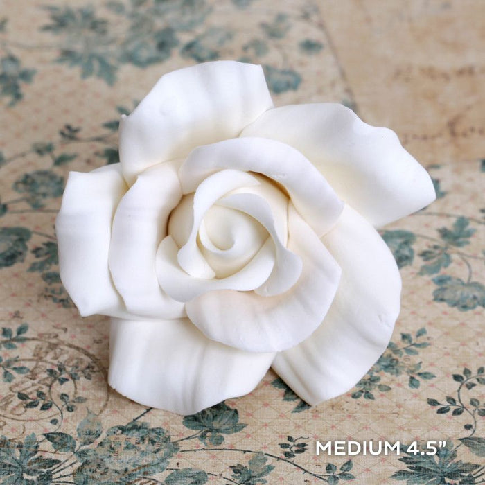 Large White Open Gumpaste Rose handmade cake decoration. Wholesale cake supply. caljava