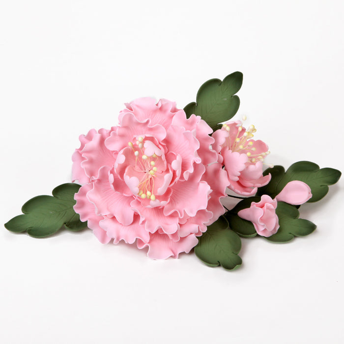 Large Pink gumpaste peony sugarflower cake topper handmade cake decoration. CaljavaOnline.com