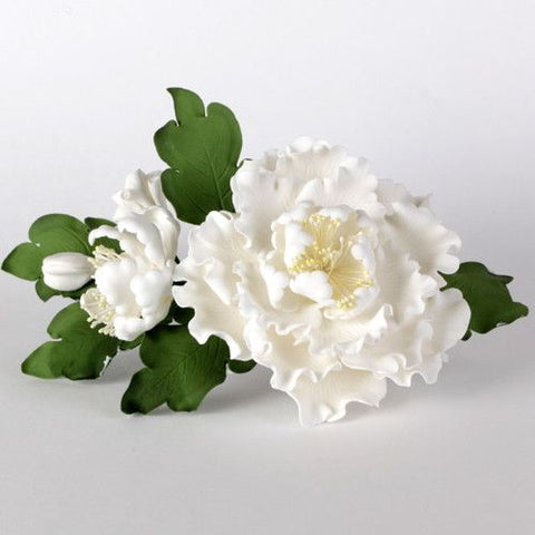 Large white gumpaste peony spray arrangement handmade cake decoration. Caljava