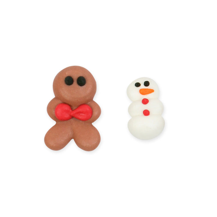 Lil Gingerboy & Mini Snowman Royal Icing Decorations (Bulk)