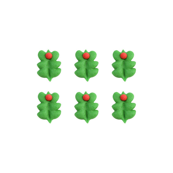Edible Cake Decorations Holly Leaves : Tiny Holly Leaf Royal Icing Decorations (Bulk)   CaljavaOnline