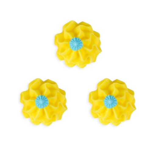 Funky Flower Royal Icing Decorations (Bulk) - Yellow
