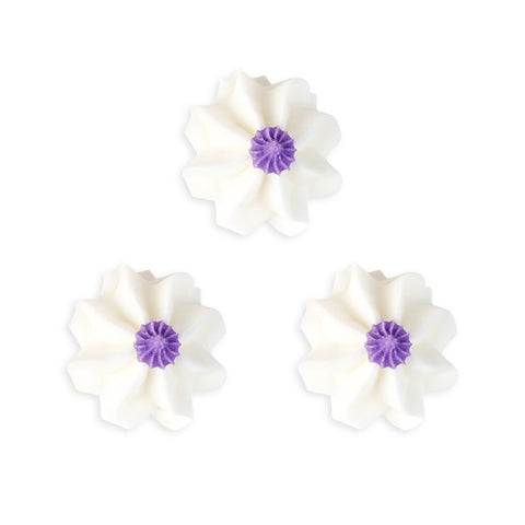 Funky Flower Royal Icing Decorations (Bulk) - White