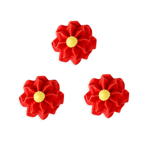 Funky Flower Royal Icing Decorations (Bulk) - Red