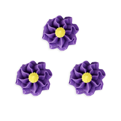 Funky Flower Royal Icing Decorations (Bulk) - Purple