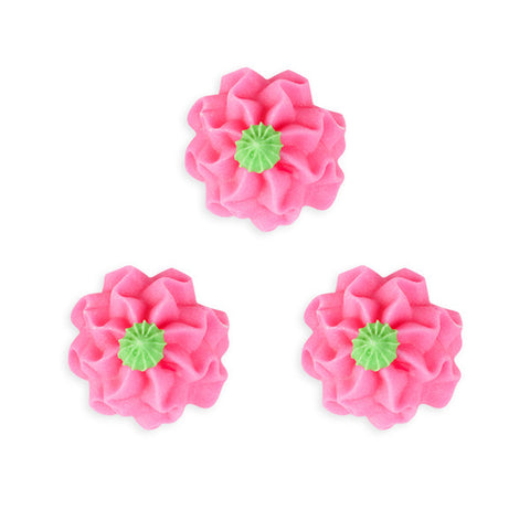 Funky Flower Royal Icing Decorations (Bulk) - Pink