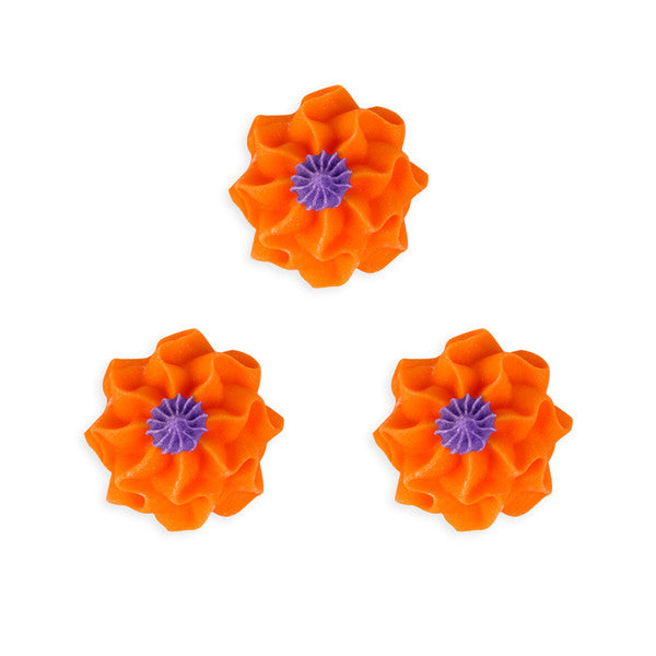 Funky Flower Royal Icing Decorations (Bulk) - Orange