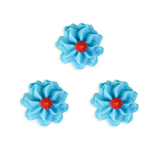 Funky Flower Royal Icing Decorations (Bulk) - Blue