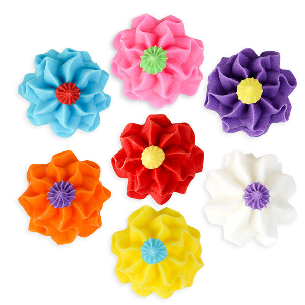 Funky Flower Royal Icing Decorations (Bulk) - Assortment