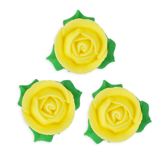 3D Rose w/ Leaves Royal Icing Decorations (Bulk) - Yellow
