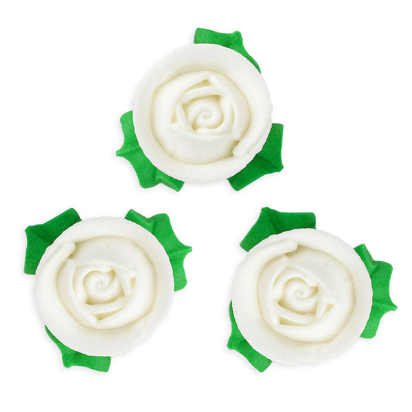3D Rose w/ Leaves Royal Icing Decorations (Bulk) - White