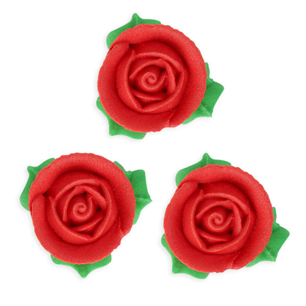 3D Rose w/ Leaves Royal Icing Decorations (Bulk) - Red