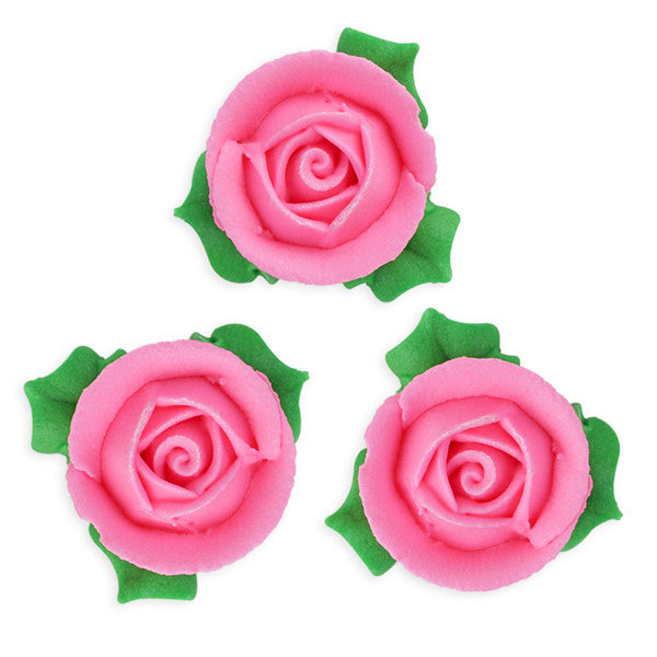 3D Rose w/ Leaves Royal Icing Decorations (Bulk) - Pink