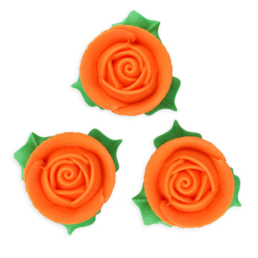 3D Rose w/ Leaves Royal Icing Decorations (Bulk) - Orange