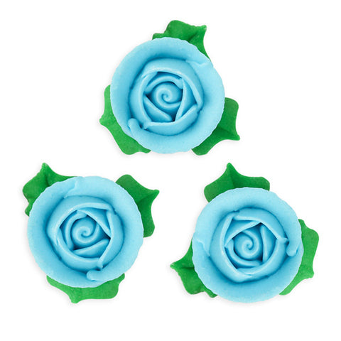 3D Rose w/ Leaves Royal Icing Decorations (Bulk) - Blue