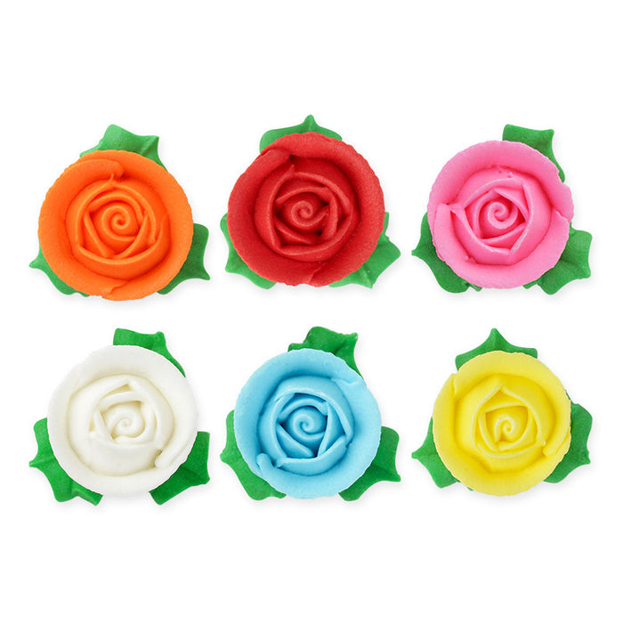 3D Roses w/ Leaves Royal Icing Decorations (Bulk) - Assortment