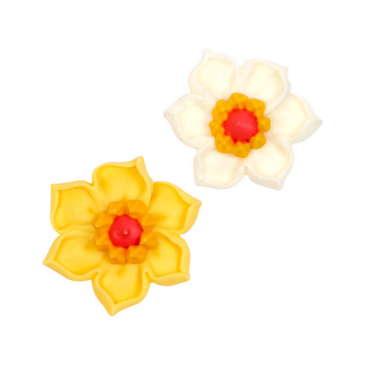 Daffodil Flower Royal Icing Topper Decorations great for chocolates, candy, cakes, cupcakes, and many other edible creations.