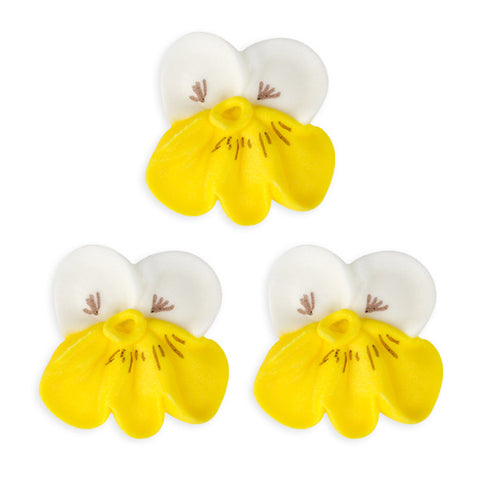 Pansy Royal Icing Decorations (Bulk) - White w/ Yellow