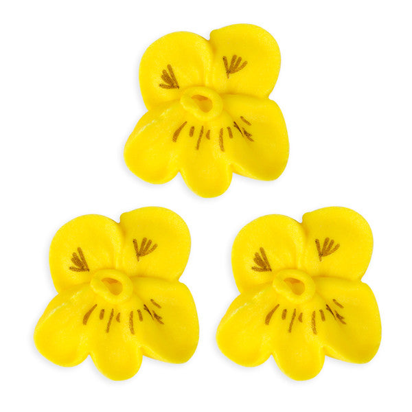 Pansy Royal Icing Decorations (Bulk) - Yellow