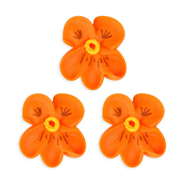 Pansy Royal Icing Decorations (Bulk) - Orange