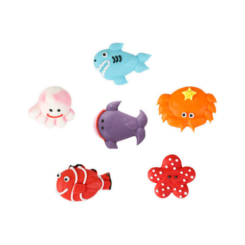 Small Sea Creature Assortment Royal Icing Decorations (Bulk)