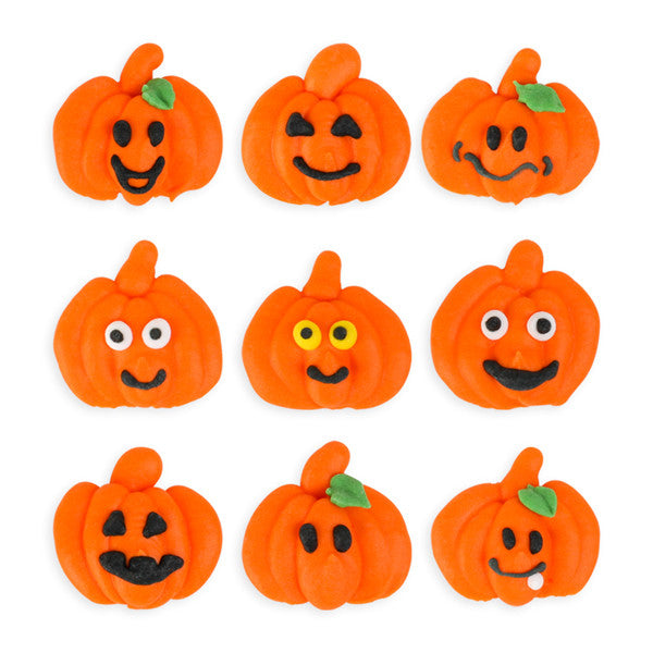 Halloween Pumpkin Royal Icing Decorations (Bulk)