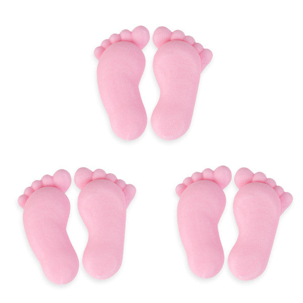 Footprints Royal Icing Decorations (Bulk) - Pink