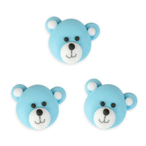 Bear Royal Icing Decorations (Bulk) - Blue
