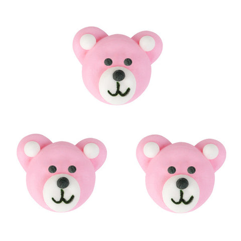 Bear Royal Icing Decorations (Bulk) - Pink