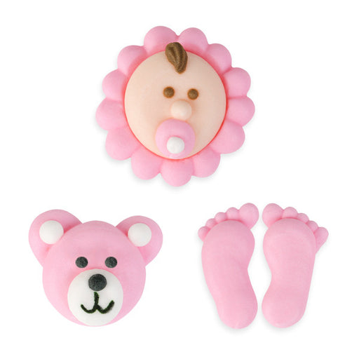 Baby Set Royal Icing Decorations (Bulk) - Pink