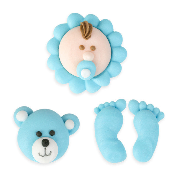 Baby Set Royal Icing Decorations (Bulk) - Blue
