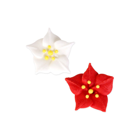 Small Poinsettia Royal Icing Decorations (Bulk)
