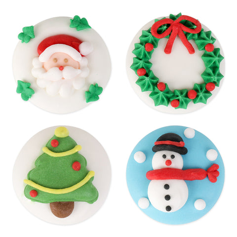 Assorted Christmas Plaques Royal Icing Decorations (Bulk)