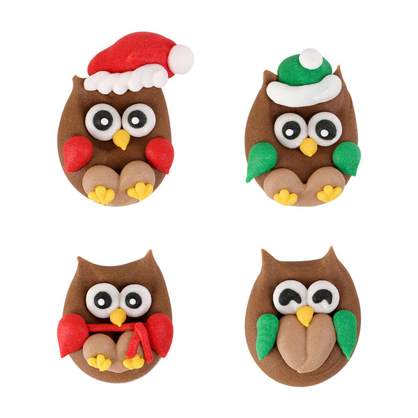 Christmas Owl Royal Icing Decorations (Bulk)
